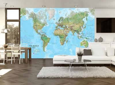 World Map Wallpaper Woven Self-Adhesive Wall Art Mural Decal