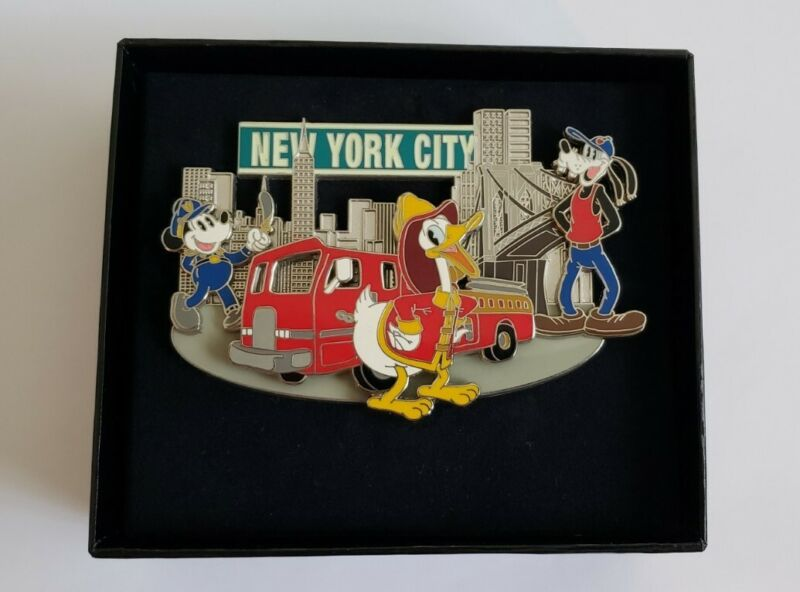 Disney Jumbo Boxed Pin NYC New York City Firefighter Donald Duck LE 500