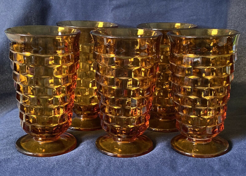 """Vintage Indiana Glass Whitehall Footed Tumbler  Glasses Amber 6"""" Set Of 5"""