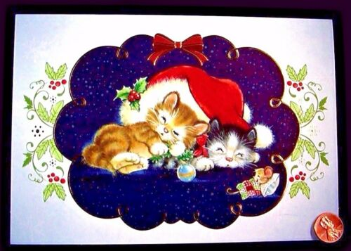 CHRISTMAS Tabby Kittens Cats Hat Ornament Mouse Mice - Christmas Greeting Card
