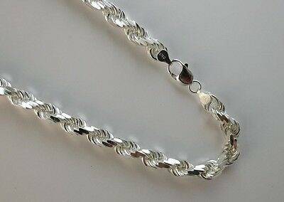 9mm D/C Rope Chain Pure Solid 925 Sterling Silver Italian Chain 8,9,20,22,24,30