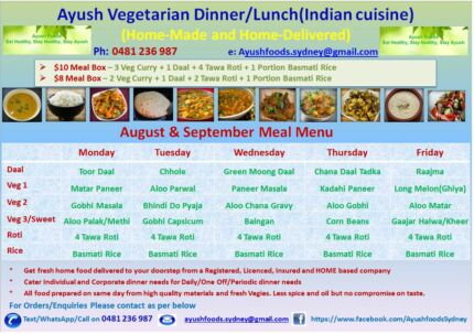 Ayush Indian(VEG) Catering & Daily Tiffin Delivery Parramatta Area Preview