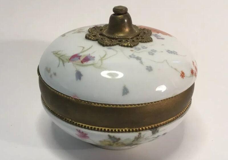 Rare Antique French Powder-Trinket Lidded Porcelain Box c.1890s