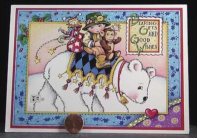 VINTAGE Mary Engelbreit Christmas Girl Polar Bear *1995* Greeting Card - NEW