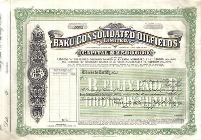 Russia Imperial Share Baku Consolidated Oilfields Ltd £1 unissued series B