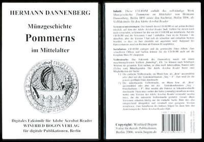 DANNENBERG: MÜNZGESCHICHTE POMMERNS IM MITTELALTER auf CD-ROM