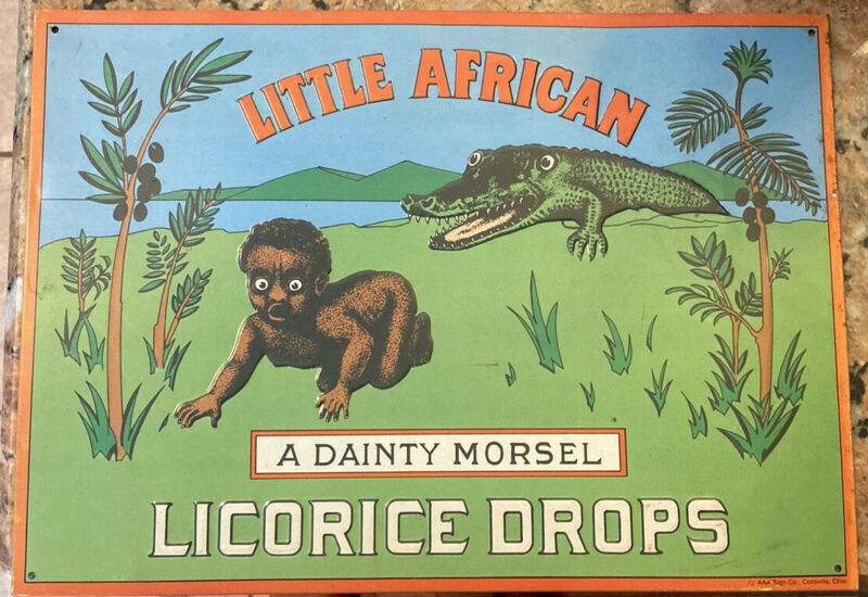 Vintage 1980s 1990s AAA Sign Co. Little African A Dainty Morsel Licorice Drops