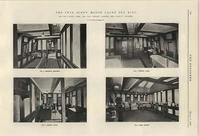 1924 Twin Screw Motoryacht Sea King 3 Cabin Study Saloon