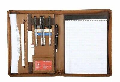 File Folder Padfolio Organizer Pu Leather Executive Zippered Binder Brown Black