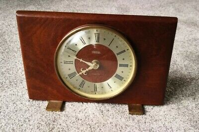 Vintage Smiths Mantle Clock Wood Backing Made In UK Battery Quartz