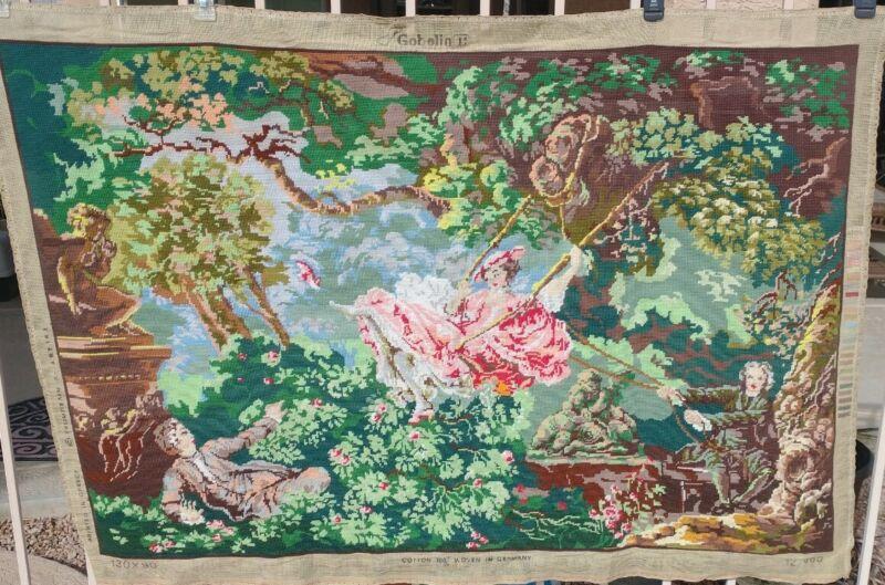 Vtg Large FINISHED NEEDLEPOINT Tapestry French Romantic Vivid Marie Antoinette