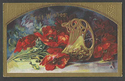 Ca 1907 PPC* VINTAGE BEST WISHES VASE & FLOWERS MULTI COLORED EMBOSSED UNPOSTED