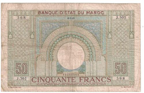 Morocco - 6.3.1941 50 Francs Banknote (P-21)