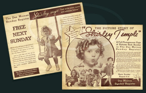 1935 HTF Picture Story of Shirley Temple Des Moines Register Advertising Flyer