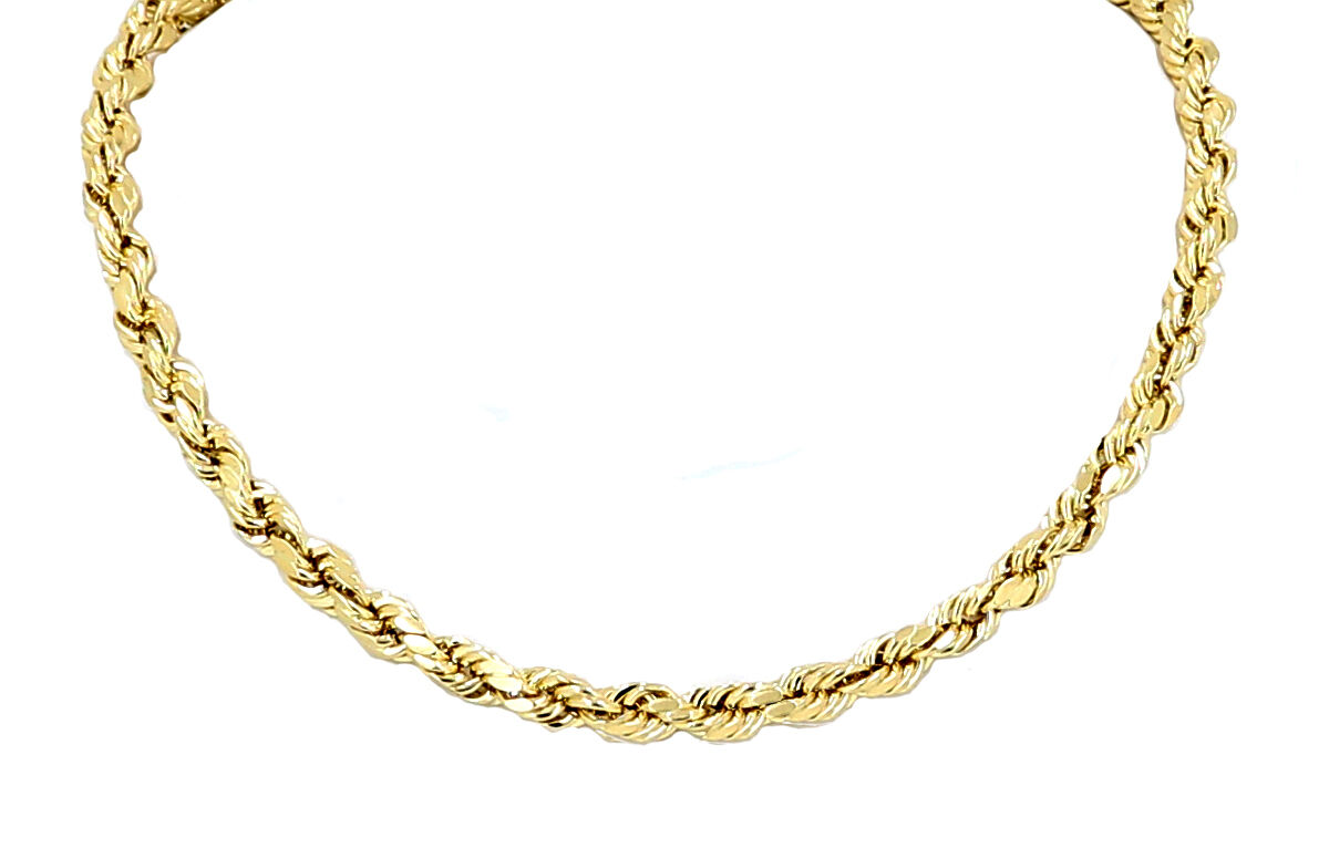 Solid Yellow Gold 14k Diamond Cut Rope Chain/Necklace For Men/Women 3mm to 5mm