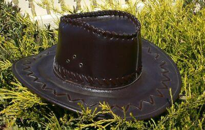 AUSTRALIAN BUSHMAN COWBOY  HAT STITCHED LEATHER NEW costume adult sized