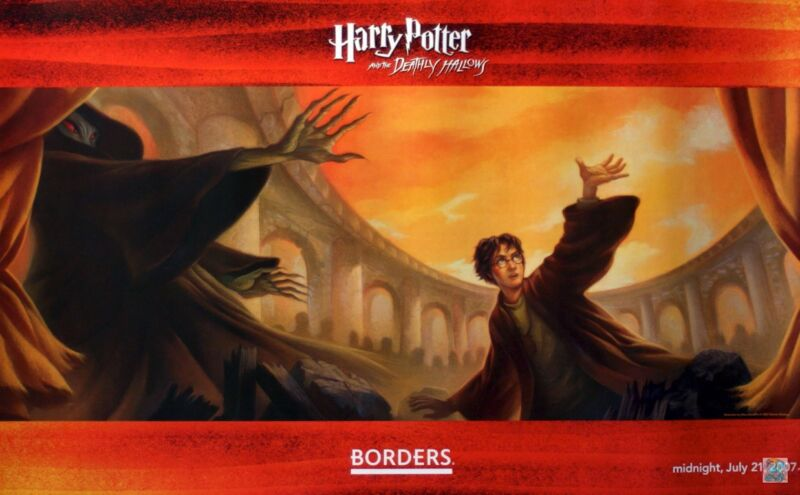 HARRY POTTER BORDERS BOOKS DEATHLY HALLOWS POSTER RARE NEW...