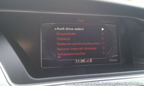 Drive Select Menu MMi 3G