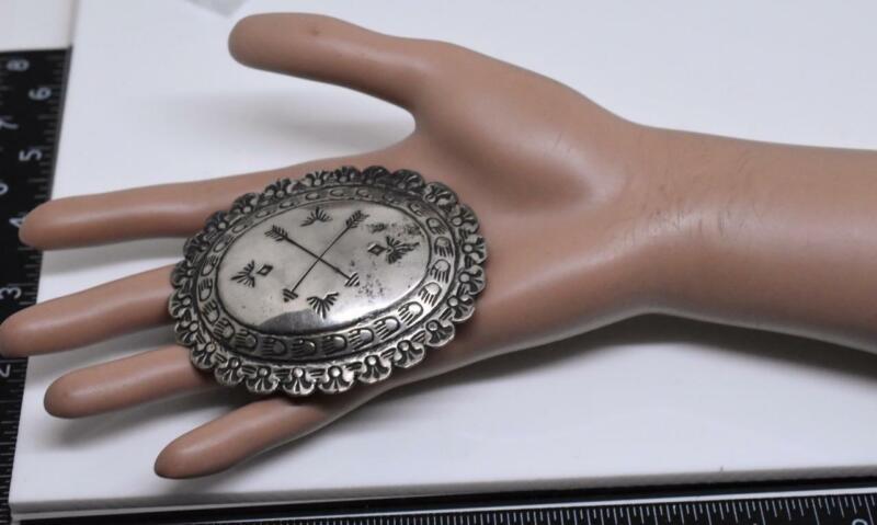 signed JBJ Navajo Native American CONCHO Sterling Silver 925 Belt Buckle Vintage