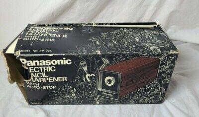 Vintage Panasonic Auto Stop Electric Pencil Sharpener Wood Grain Model Kp-77