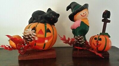 Vintage Halloween Blow Mold Plastic Scarecrow Pumpkin Black Cat Crow Leaves Lot