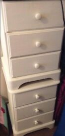 2 white painted bedside tables