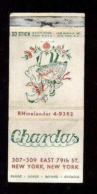 CHARDAS HUNGARIAN CUISINE RESTAURANT NEW YORK MATCHBOX LABEL AMERICA