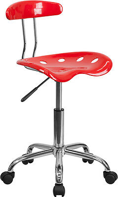 Flash Furniture Vibrant Red And Chrome Task Chair With Tractor Seat