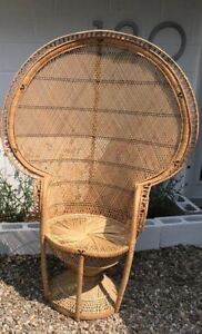 Vintage Wicker And Rattan Peacock Chair