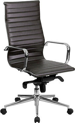 Brown Leather High Back Office Chair With Polished Aluminum Base And Arms