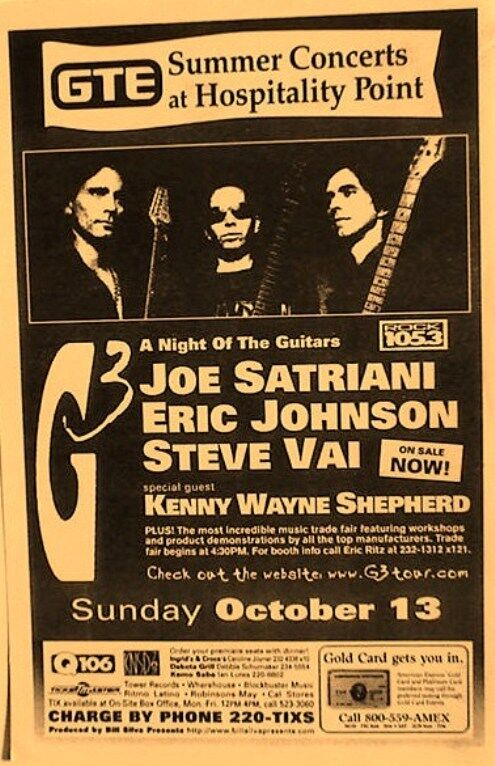 G3 TOUR 1996 POSTER: JOE SATRIANI, ERIC JOHNSON, STEVE VAI, KENNY WAYNE SHEPHERD