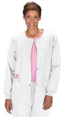 Scrub Jacket Cherokee Workwear S White Womens Round Neck 4350 Warm Up New  4350 Womens Warm Up Jacket