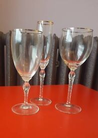 Lenox crystal 15 items (6 Champagne, 6 Wine and 3 Water glasses) - gently used