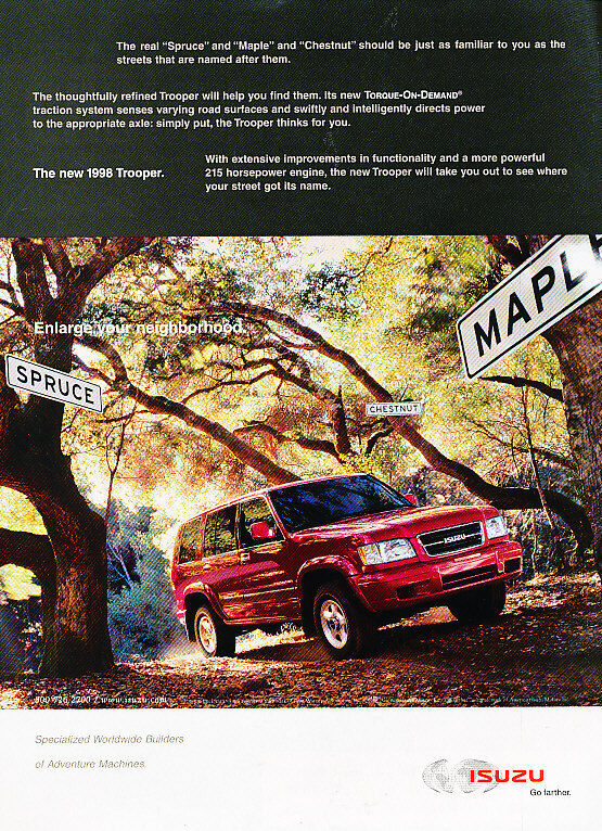 1998 Isuzu Trooper - red - Classic Vintage Advertisement Ad H02