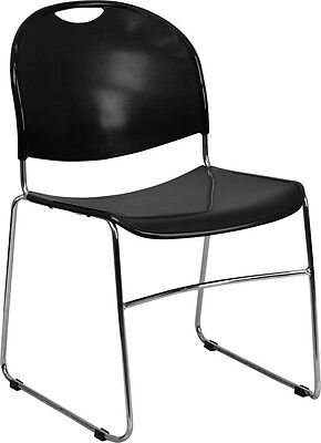 Heavy Duty Black Stack Office Chair With Sled Metal Base - Waiting Room Chair