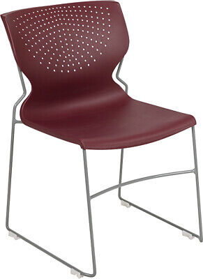Heavy Duty Burgundy Stack Office Chair With Sled Metal Base - Waiting Room Chair