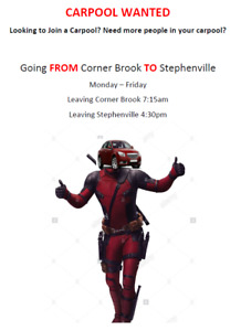 Daily Carpool FROM Corner Brook TO Stephenville