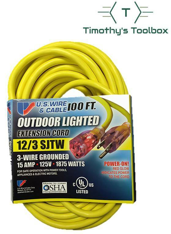 US Wire 74100 100-Foot Heavy Duty Lighted Plug Extension Cor
