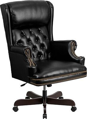 High Back Traditional Bottom Tufted Black Leather Swivel Executive Office Chair