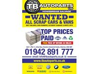 BEST PRICES PAID WANTED FOR ALL TYPES OF CARS & VANS DAMAGED/SCRAP ATHERTON MANCHESTER