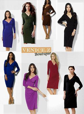 BNWT Quality 3/4 Sleeve Jersey V-neck Faux Wrap Dress Quality Size 8 10 12 14 16 3/4 Sleeve Faux Wrap