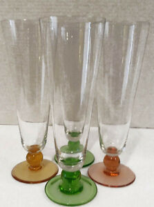 Vintage Four Crystal fluted Pedestal drinking glasses