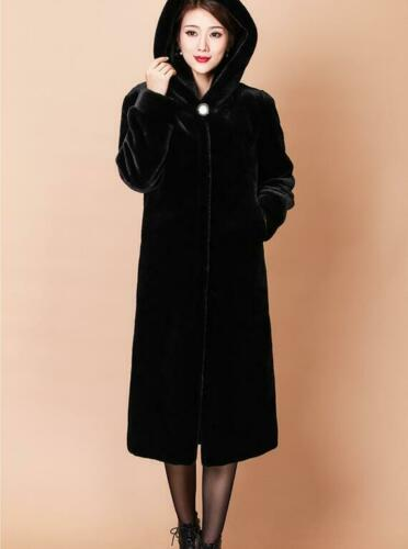 Womens Mink Fur Coat Long Trench Jacket Hooded Warm Parka Outwear Thick Overcoat
