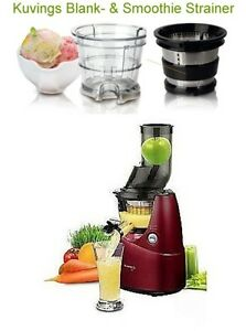 Kuvings Whole Slow Juicer B6000 Rot + Sorbet & Smoothie Strainer + Rezepte