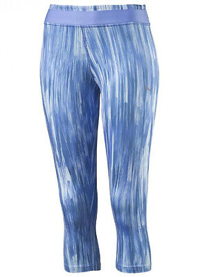 New Womens Ladies PUMA 3/4 Leggings Bottoms Pants - Running Fitness - Blue