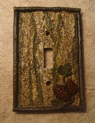 Lodge Cabin Switch Plate Single Light Cover Pine Cone Birch Tree Moss Home Decor