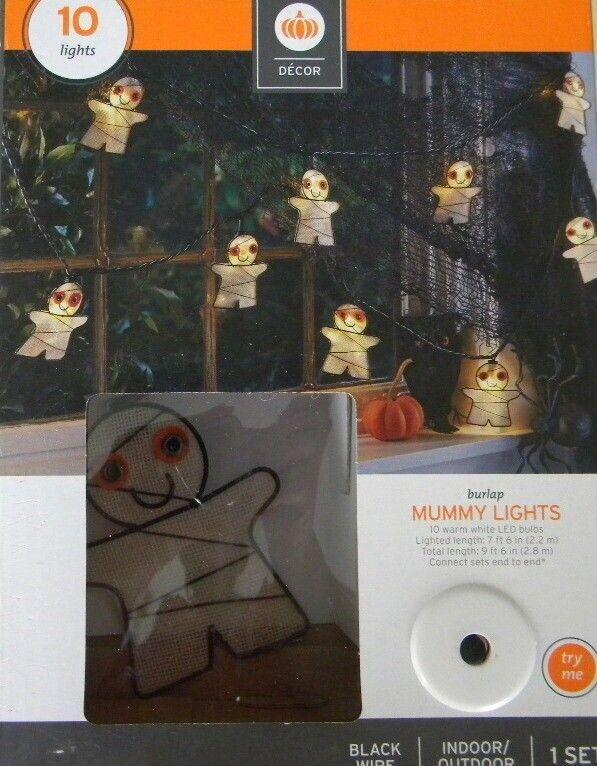 Halloween BURLAP MUMMY Lights--10 cnt LED