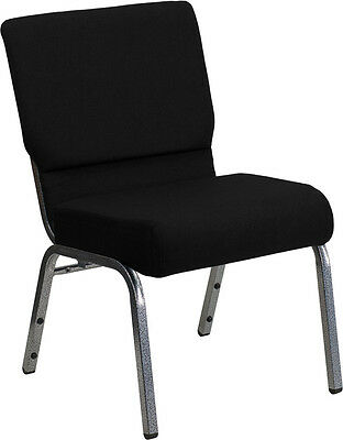 Lot Of 50 21 Extra Wide Black Fabric Stacking Church Chairs Silver Vein Frame