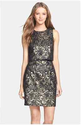 Cynthia Steffe 'Heather' Metallic Jacquard Popover Dress (size 10)