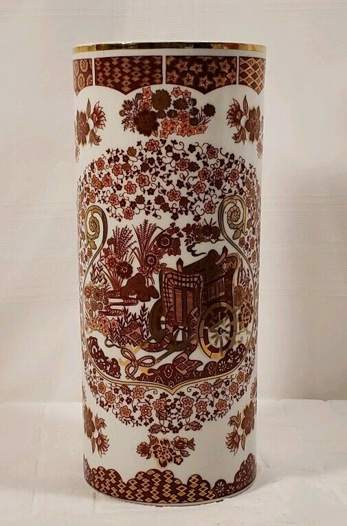 "Japanese Cylinder Vase With Red & Pink Flowers & Carriage with Gold Accents 10""T"